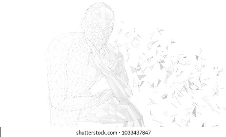 Conceptual abstract man thinking. Connected lines, dots, triangles, particles on white background. Artificial intelligence concept. High technology vector digital background
