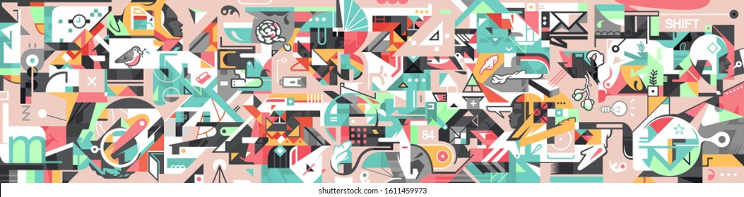 Conceptual abstract modern lifestyle illustration. Graffiti influenced shapes banner. Horizontal-oriented background. Vector illustration in geometric style.