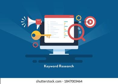 Conceptual artwork for SEO keywords, Keyword research, Keyword analysis, target marketing - flat design vector illustration with icons
