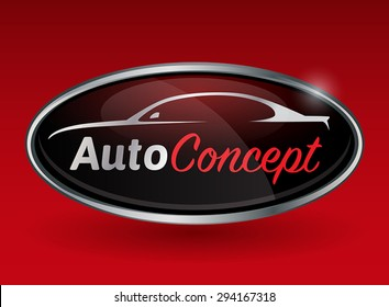 Conceptual automotive vector logo design with sports vehicle silhouette on red background