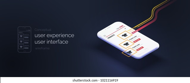 Conceptual banner, booklet, brochure. User experience, user interface. 3d phone with the layout of the web page. Mobile interface with moving elements. Mobile application