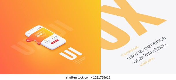 Conceptual banner, booklet, brochure. User experience, user interface. 3d phone with the layout of the web page. Molten mobile interface. Mobile application