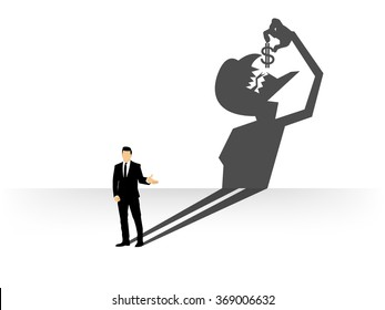 conceptual of businessman casting a shadow shaped like devil that eating dollar, businessman shadow shaped concept design