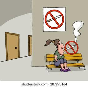 Conceptual cartoon about no smoking sign
