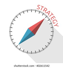 Conceptual compass showing direction to strategy word. Business, investment, management, marketing, development, success and goal concept. EPS 8 vector illustration, no transparency