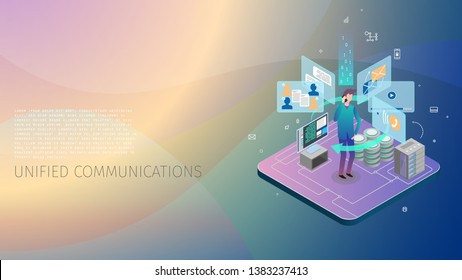 conceptual composition with a person interacting with a system of unified automatic communications, a server, a data base, an energy core and a control computer, metaphoric business illustration