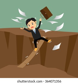 Conceptual concept of businessman or man in crisis walking in balance on wood, vector illustration.