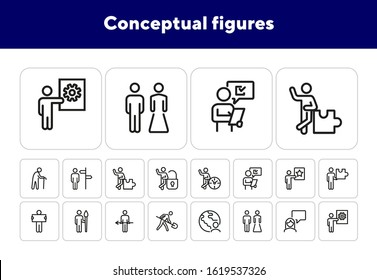 Conceptual figures line icon set. Different action, old man, artist, groom and bride. People concept. Can be used for topics like marketing research, job, occupation, age