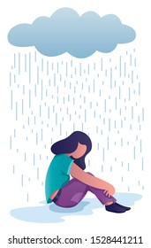 Conceptual flat design illustration for depression, depicting woman, sitting on the ground with dark cloud above her.