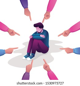 Conceptual flat design illustration for guilt, victim, blaming, public disapproval, humiliation and abjection, depicting sad man surrounded by hands with index fingers pointing at him.