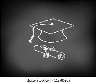 Conceptual graduation background drawn on black chalkboard with graduation cap and diploma. Vector Illustration.