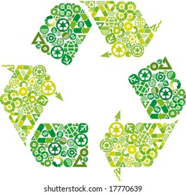 conceptual green leaf recycling symbol