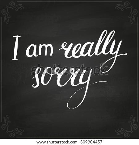 conceptual handwritten phrase really sorry handdrawn stock vector
