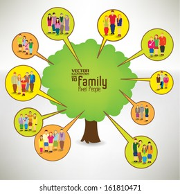 Conceptual happy family tree vector design