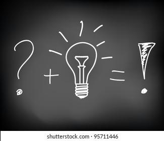 Conceptual idea of incandescent light bulb drawn on black chalkboard - vector illustration