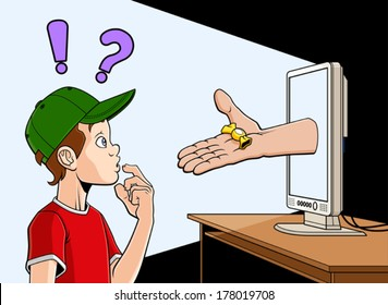 Conceptual illustration about dangers of internet for the children. An hand is coming out of a screen and offering a candy to a child.
