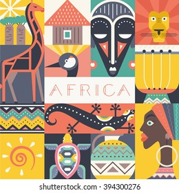 Conceptual illustration of Africa with different african symbols made in flat vector style. Travel to africa banner template. Explore the world. African design.
