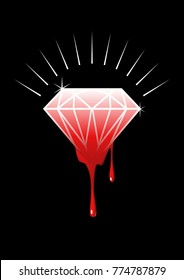 Conceptual illustration of blood diamonds (also called conflict, war, hot, or red diamonds) is a term used for a diamond mined in a war zone and sold to finance an insurgency, or a warlord's activity