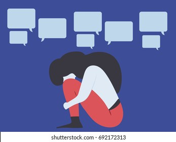 Conceptual illustration for bullying, gossip, aspersion, defamation, slander, libel, slur, detraction, on female girl and teenager