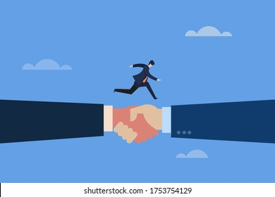 Conceptual illustration of a business executive moving fast on a shaking hands