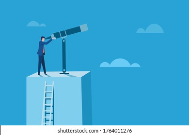 Conceptual illustration of a business man standing on a high altitude platform looks through a telescope.
