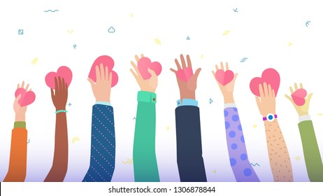 Conceptual illustration for charity theme, many hands holding stylized hearts