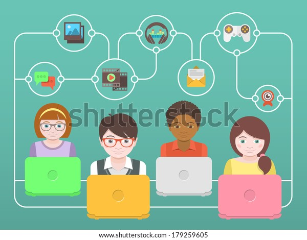 Conceptual illustration of children with laptops that share multimedia information on the Internet