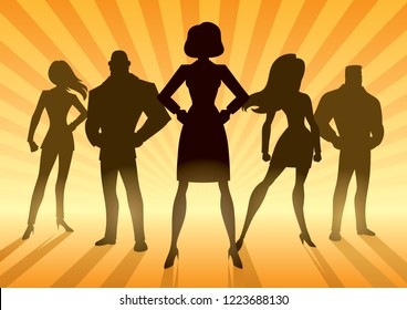 Conceptual illustration depicting business team with female leader or manager.