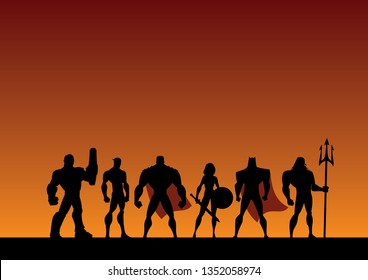 Conceptual illustration depicting a team of powerful superheroes.