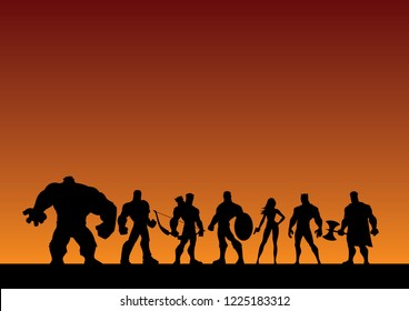 Conceptual illustration depicting a team of superheroes.