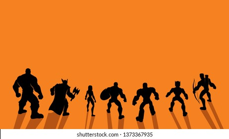 Conceptual illustration depicting team of superheroes lined up and ready for battle. Copy space is included.