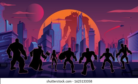 Conceptual illustration depicting team of superheroes lined up and ready for battle against powerful giant robot in futuristic city.