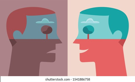 Conceptual illustration depicting young man in profile seen in two opposite moods, happy and sad, isolated on backgrounds in pastel colors