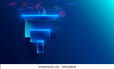 Conceptual illustration digital technology. Hanging smart phone, tablet, laptop. Porting programs to mobile platforms. development of cross-platform software for desktop and mobile devices.