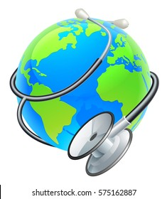 Conceptual illustration of an earth world globe with a medical stethoscope wrapped around it.