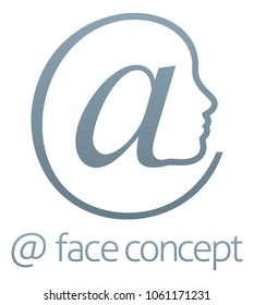 Conceptual illustration of a face in profile formed from an at sign symbol