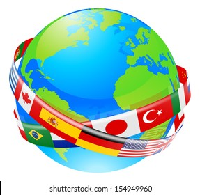 A conceptual illustration of a globe with the flags of lots of countries flying around it.