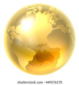 A conceptual illustration of a gold world earth globe icon
