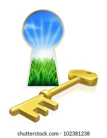 Conceptual illustration of key and keyhole looking out onto beautiful green field. Concept for freedom, opportunity or other business metaphor