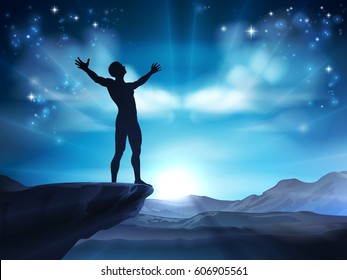 Conceptual illustration of a man with raised arms on cliff tops possibly in praise or worship