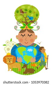 Conceptual Illustration of mother earth hugging a heart shaped earth with some of the animals that inhabitant. Eps10