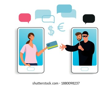 Conceptual illustration of online fraud, cyber crime, data hacking. A woman on the phone screen and the scammer stealing a bank card. Flat vector illustration