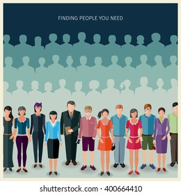 conceptual illustration of people search: group of people standing in front of huge crowd