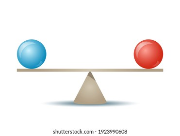 Conceptual illustration of the perfect balance between two issues. isolated vector