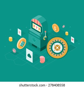 Conceptual illustration of playing casino with related objects and symbols such as: slot machine, playing cards, casino roulette and chips. Modern flat design style isometric illustration