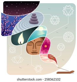 Conceptual illustration for relaxation and inner peace. No transparency used.