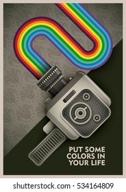 Conceptual illustration with retro handy cam. Vector illustration.