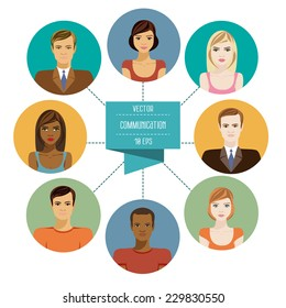 Conceptual illustration showing the diversity of people in a social network with eight avatars of men and women related unified communications network. Set flat design icons of faces. Vector 10 EPS