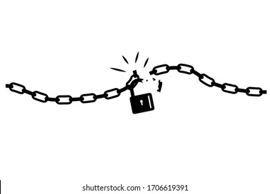 Conceptual Illustration, Silhouette of chain and broken padlock, isolated on white