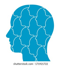 Conceptual illustration of the silhouette of a persons head in profile filled with a pattern of repeating small heads all facing in the same direction isolated on white